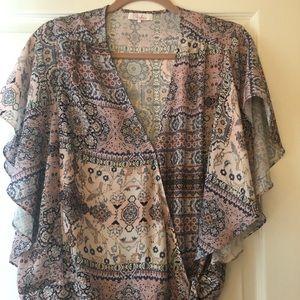 Parker silky multicolor wrap blouse